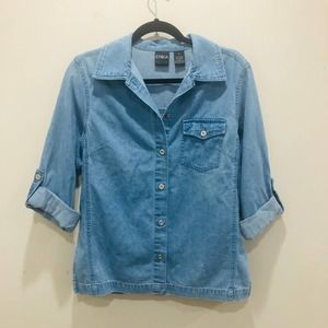 Erika Chambray Cotton Button Front Shirt Small